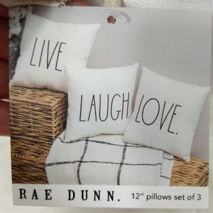 Rae Dunn Set Of 3 pillows 12 X 12 Live Laugh Love
